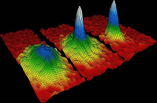 Computerdarstellung eines Bose-Einstein-Kondensats. Die Atom-Cluster werden bis auf einige Nanokelvin über dem absoluten Nullpunkt heruntergekühlt und zeigen dann bemerkenswerte Eigenschaften. (Institute of Physics)