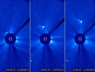 Auf diesen Bildern des Solar and Heliospheric Observatory (SOHO) erscheint der Komet ISON als heller Fleck, der sich oberhalb der Sonne von ihr entfernt. Die Sonne selbst wurde aufgrund ihrer Helligkeit abgedunkelt. Der weiße Kreis markiert ihre Position. (ESA / NASA / SOHO / GSFC)