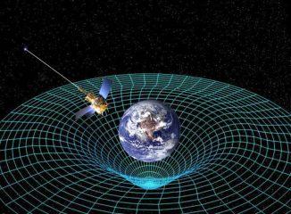 Künstlerische Darstellung des Satelliten Gravity Probe B in der Erdumlaufbahn. Die Raumzeit ist in der Nähe des Planeten nicht flach, sondern gekrümmt. Manche Modelle zur mathematischen Beschreibung der Raumzeit lassen Spielraum für Interpretationen über die Möglichkeit von Zeitreisen. (NASA)
