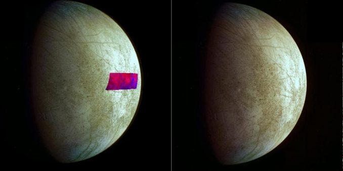 Dieses Bild zeigt den ersten Nachweis von tonähnlichen Mineralen auf dem Jupitermond Europa. Es basiert auf Daten der Galileo-Mission. (NASA / JPL-Caltech / SETI)