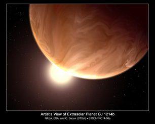 Künstlerische Darstellung der Supererde GJ 1214b. Spektroskopische Beobachtungen mit dem Hubble Space Telescope liefern Hinweise auf hoch liegende Wolken. Sie verdecken die darunter liegenden Schichten. Die Zusammensetzung der Wolken ist unbekannt. (NASA, ESA, and G. Bacon, STScI)