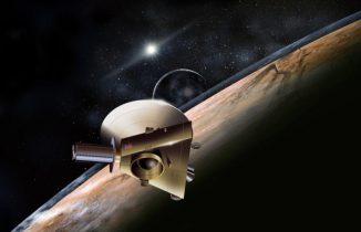Künstlerische Darstellung der Raumsonde New Horizons während ihres Vorbeiflugs an dem Zwergplaneten Pluto. (Image Credit: JHUAPL / SwRI)