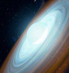 Illustration des extrem schnell rotierenden Be-Sterns MWC 656, der sich zusammen mit einem stellaren Schwarzen Loch als Begleiter etwa 8.500 Lichtjahre von der Erde entfernt im Sternbild Eidechse befindet. (Gabriel Pérez - SMM (IAC))