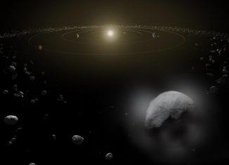 Illustration des Zwergplaneten Ceres im Asteroidengürtel zwischen Mars und Jupiter. Herschel konnte das Vorhandensein von Wasserdampf eindeutig nachweisen. (ESA / ATG medialab)