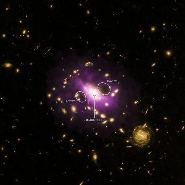Der Galaxienhaufen RX J1532.9+3021. Violette Farbtöne kennzeichnen das Vorhandensein von heißem Gas, basierend auf Daten des Chandra X-ray Observatory. Optische Daten des Hubble Space Telescope werden in gelb dargestellt. (X-ray: NASA / CXC / Stanford / J. Hlavacek-Larrondo et al, Optical: NASA / ESA / STScI / M. Postman & CLASH Team)