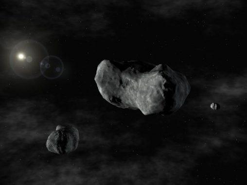 Künstlerische Darstellung mehrerer Asteroiden im Sonnensystem. (European Southern Observatory)