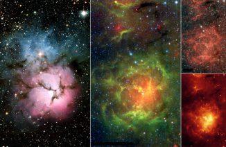 Unterschiedliche Ansichten des Trifidnebels. Links eine optische Aufnahme, die übrigen Bilder stammen vom Weltraumteleskop Spitzer und wurden in infraroten Wellenlängen gemacht. (NASA / JPL-Caltech / NOAO)