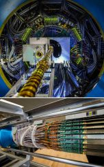 Oben: Der zentrale Teil des Heavy Flavor Tracker (HFT) am STAR-Detektor des Relativistic Heavy Ion Collider. Unten: Der umgebende Teil vor der Installation. Der HFT wird Spuren von Teilchen verfolgen, die aus Charm- und Beauty-Quarks bestehen. Diese Quarks sind schwerer als die Up- und Down-Quarks, aus denen gewöhnliche Materie besteht. (Courtesy Brookhaven National Laboratory)