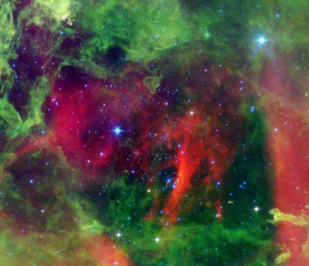 Der Rosettennebel, aufgenommen vom Weltraumteleskop Spitzer in infraroten Wellenlängen. (NASA / JPL-Caltech / Univ. of Ariz.)