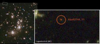 Hubble-Aufnahme des Galaxienhaufens Abell 2744. Der Ausschnitt zeigt die Region um die Galaxie Abell 2744 Y1, eine der entferntesten bekannten Galaxien. (NASA / ESA / STScI / IAC)