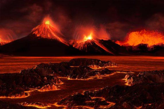 Künstlerische Darstellung einer Vulkanregion während des Massenaussterbens am Ende des Perm. (José-Luis Olivares / MIT)
