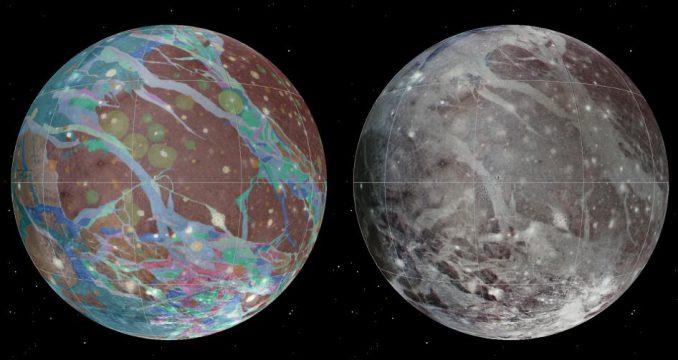 Um die besten Informationen in einer einzigen Ansicht des Jupitermonds Ganymed darzustellen, wurde ein globales Bildmosaik aus den besten Aufnahmen der NASA-Sonden Voyager 1 und 2 und der Jupitersonde Galileo erstellt (USGS Astrogeology Science Center / Wheaton / NASA / JPL-Caltech)