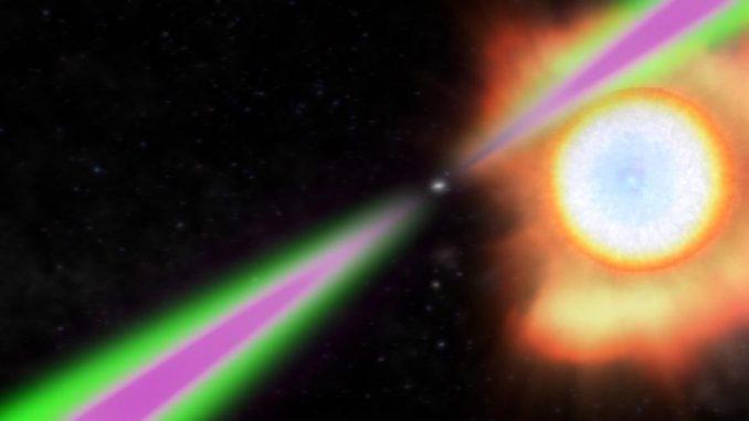 Künstlerische Darstellung des Systems PSR J1311-3430. Die Radiostrahlen (grün) und Gammastrahlen (magenta) des Pulsars überstreichen regelmäßig die Erde. Der Pulsar heizt die ihm zugewandte Seite des viel kleineren Begleitsterns stark auf und verdampft ihn dadurch langsam. (NASA / Goddard Space Flight Center)