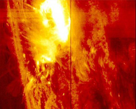 Der Interface Region Imaging Spectrograph (IRIS) beobachtete am 28. Januar 2014 die stärkste Sonneneruption seit seinem Start. Es handelte sich um eine Eruption der M-Klasse. (NASA / IRIS)