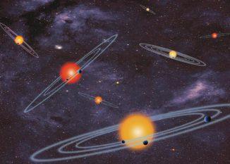 Künstlerische Darstellung einiger Sternsysteme, die jeweils mehrere Planeten beherbergen. (NASA)