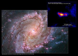 Die nahe Spiralgalaxie M83 und das MQ1-System mit seinen Jets, aufgenommen vom Hubble Space Telescope. Der blaue Kreis markiert die Position von MQ1 in der Galaxie. (M83: NASA, ESA and the Hubble Heritage Team (WFC3 / UVIS, STScI-PRC14-04a); MQ1 inset: W. P. Blair (Johns Hopkins University) & R. Soria (ICRAR-Curtin))