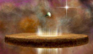 Diese künstlerische Illustration zeigt zwei protoplanetare Scheiben in der Nähe eines massereichen Sterns des O-Typs. Die nähere protoplanetare Scheibe wird ihrer Staub- und Gasvorkommen beraubt, die durch die Strahlung des massereichen Sterns weggeblasen werden. Die weiter entfernte Scheibe kann ihr Potenzial zur Bildung von Planeten behalten. (NRAO / AUI / NSF; B. Saxton)