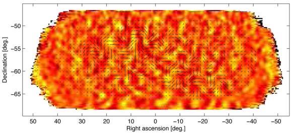 Die winzigen Temperaturunterschiede des kosmischen Mikrowellenhintergrundes (hier farblich gekennzeichnet) markieren die primordialen Dichteunterschiede im frühen Universum, die später das Wachstum von Galaxien auslösten. Die schwarzen Linien repräsentieren das beobachtete B-Mode-Polarisationsmuster. Die Linien zeigen die Polarisationsstärke und -ausrichtung an verschiedenen Ausschnitten am Himmel. (BICEP2 Collaboration)