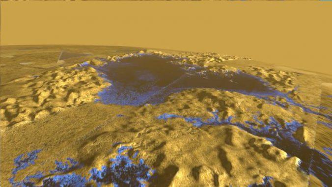 Falschfarbenaufnahme von der Oberfläche Titans. Das Bild basiert auf Radarmessungen der NASA-Raumsonde Cassini. Die Sonde zeigte, dass die Oberfläche von Ligeia Mare, dem größte Meer auf Titan, ungewöhnlich ruhig ist. Der Grund ist wahrscheinlich fehlender Wind. (Courtesy of Howard Zebker)