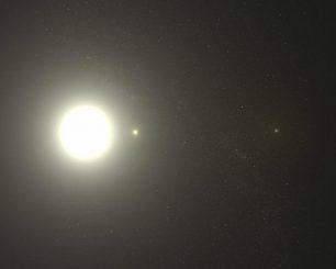 Der Polarstern ist eigentlich ein Dreifachsystem. Diese nicht maßstabsgerechte, künstlerische Darstellung zeigt die drei Mitglieder des Systems. Der Polarstern selbst (Polaris Aa) ist ein Stern des Spektraltyps F. (Greg Bacon (STScI))