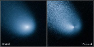 Die beiden Bilder zeigen den Kometen C/2013 A1 Siding Spring vor (links) und nach der Bildbearbeitung (rechts). Die Aufnahme wurde mit der Wide Field Camera 3 an Bord des Hubble Space Telescope gemacht. (NASA, ESA, and J.-Y. Li (Planetary Science Institute))