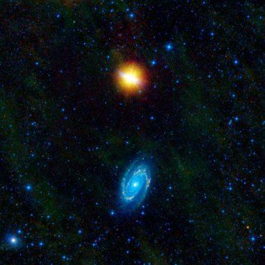 Die Galaxien Messier 82 (oben) und Messier 81 (unten) interagieren miteinander. Das Bild basiert auf Infrarotdaten des Wide-field Infrared Survey Explorer (WISE). (NASA / JPL-Caltech / UCLA)