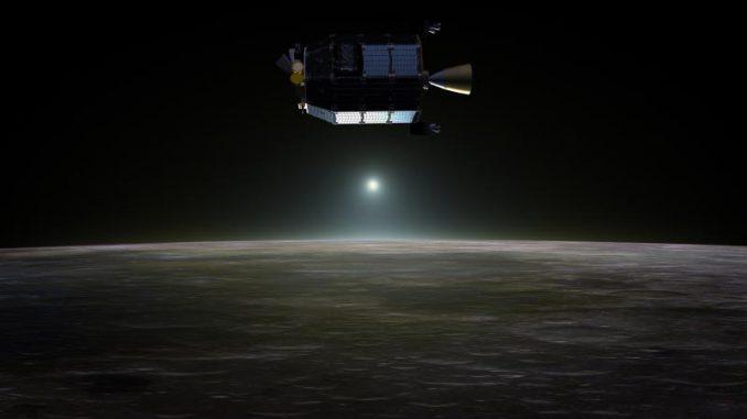 Illustration des Lunar Atmosphere and Dust Environment Explorer (LADEE) über der Mondoberfläche. (NASA)