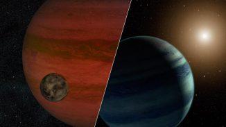 Forscher haben den ersten Exomond-Kandidaten gefunden - einen Mond, der einen Planeten außerhalb unseres Sonnensystems umkreist. Die Illustration zeigt die beiden Möglichkeiten, welche die Ergebnisse des Teams erklären würden: Einen Exomond, der einen Exoplaneten umkreist (links) oder einen Exoplaneten, der einen Stern umkreist (rechts). (NASA / JPL-Caltech)