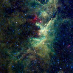Ausgedehnte Gasnebel im Sternbild Cepheus, aufgenommen vom Wide-field Infrared Survey Explorer (WISE). (NASA / JPL-Caltech / UCLA)