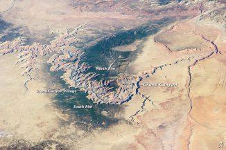 Der Grand Canyon im Norden Arizonas, aufgenommen von Astronauten an Bord der Internationalen Raumstation ISS am 25. März 2014. (NASA)