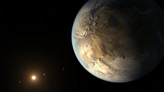 Künstlerische Darstellung des Exoplaneten Kepler-186f (im Vordergrund) und des Systems Kepler-186. (NASA Ames / SETI Institute / JPL-Caltech)