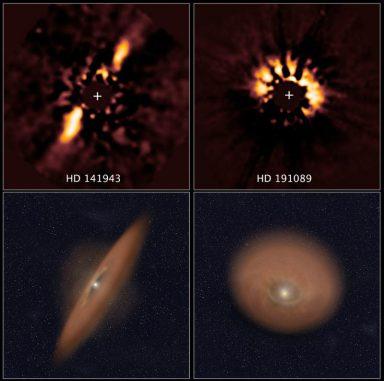 Die beiden oberen Archivbilder des Hubble Space Telescope zeigen Staubscheiben um junge Sterne. Die Illustrationen darunter stellen die Ausrichtung der jeweiligen Staubscheibe dar. (NASA / ESA, R. Soummer, Ann Feild (STScI))