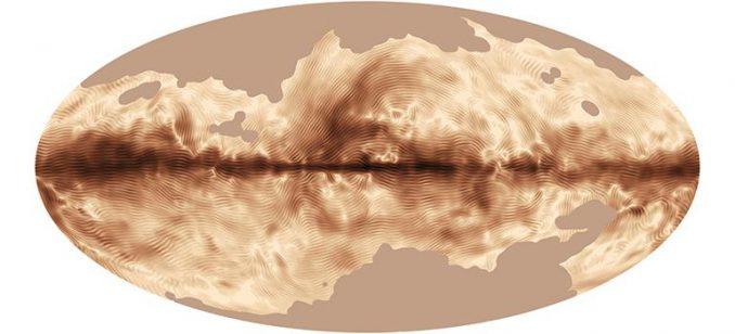 Das Magnetfeld unserer Milchstraßen-Galaxie, basierend auf Daten des Planck-Satelliten von der European Space Agency (ESA). (ESA and the Planck Collaboration)