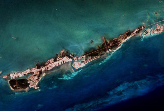 Diese Aufnahme des Satelliten Landsat 7 zeigt Korallenansammlungen in den Florida Keys. (NASA / Landsat)