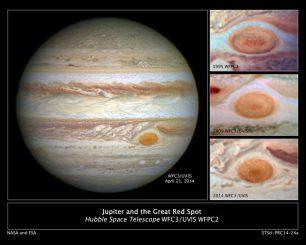 Jupiters Markenzeichen, der Große Rote Fleck, auf Aufnahmen, die in den Jahren 1995, 2009 und 2014 gemacht wurden. Man erkennt deutlich, dass das gigantische Sturmsystem in den letzten Jahren geschrumpft ist. (NASA / ESA / STScI)