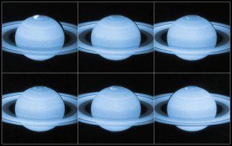 Bilderserie der Polarlichter am Nordpol des Gasriesen Saturn, aufgenommen vom Weltraumteleskop Hubble. (NASA, ESA; Acknowledgement: J. Nichols (University of Leicester))