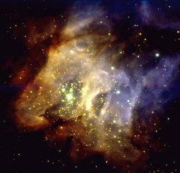 Die Sternentstehungsregion RCW 38, aufgenommen vom Very Large Telescope der Europäischen Südsternwarte in Chile. Das Bild basiert auf Daten, die im Infrarotbereich gesammelt wurden. (ESO)