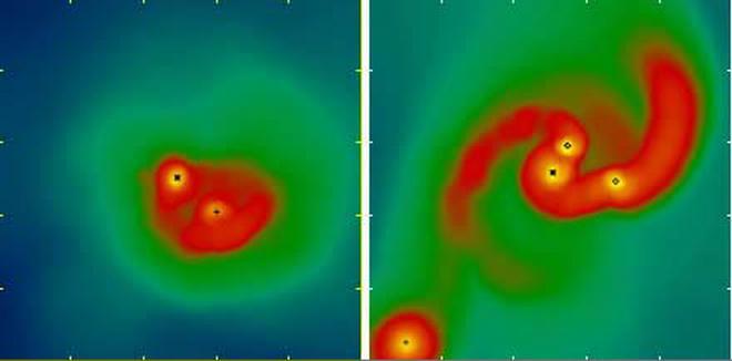 Dunkle Sterne sind bislang ein rein hypothetisches Konstrukt. Theoretisch könnten sie sich im frühen Universum gebildet haben, als Dunkle Materie kondensierte und Teilchenauslöschungen die Materie aufheizten. Das Bild zeigt das Ergebnis einer neuen Simulation. Links bilden sich normale Sterne, wenn keine auslöschende Dunkle Materie präsent ist. Das rechte Bild zeigen, was passiert, wenn Dunkle Sterne den Prozess stören. (CfA)