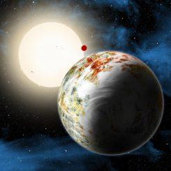 Die neu entdeckte Megaerde Kepler-10c im Vordergrund dominiert diese künstlerische Illustration. Im Hintergrund befinden sich die Lavawelt Kepler-10b und der Zentralstern Kepler-10. Möglicherweise besitzt die Megaerde eine dünne Atmosphäre, hier dargestellt durch feine Wolken. (David A. Aguilar (CfA))
