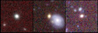 Diese Fotoserie zeigt drei Red-Nuggets in einer Entfernung von etwa vier Milliarden Lichtjahren. Links ist eine einsame Galaxie ohne Begleitgalaxien zu sehen. Die Galaxie auf dem mittleren Foto ist auch allein, scheint aber nahe einer größeren Spiralgalaxie zu liegen, die uns jedoch viel näher ist (ca. 1 Milliarde Lichtjahre). Die Galaxie rechts könnte nahe Begleitgalaxien besitzen. (Ivana Damjanov & CFHT MegaCam Team)