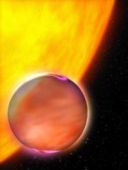 Künstlerische Darstellung eines Exoplaneten und seines Zentralsterns. Ein neues Modell erlaubt eine genauere Untersuchung des Methangehalts von Exoplaneten. (ESA)