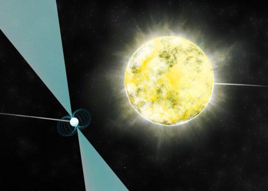 Künstlerische Darstellung eines Weißen Zwergs im Orbit um den Pulsar PSR J2222-0137. Es könnte der kälteste und schwächste Weiße Zwerg sein, der bislang identifiziert wurde. (B. Saxton (NRAO / AUI / NSF))