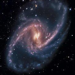 Ein Bild der Galaxie NGC 1365, deren Kern ein massereiches Schwarzes Loch enthält, das aktiv Materie ansammelt. Veränderungen in der Eisen-Emissionslinie aus dem Nukleus ermöglichten die Bestimmung der Rotation des Schwarzen Lochs. (SSRO-South (R. Gilbert, D. Goldman, J. Harvey, D. Verschatse) - PROMPT (D. Reichart))
