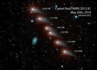Bilderserie des Kometen C/2012 K1 (Pan-STARRS) vom Mai 2014. Die Aufnahmen stammen von der NEOWISE-Mission und zeigen den Kometen in infraroten Wellenlängen. (NASA / JPL-Caltech)