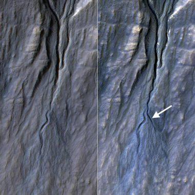 Dieses Vorher-Nachher-Bild der HiRISE-Kamera dokumentiert die Entstehung einer neuen Rinne an einem Abhang zwischen den Jahren 2010 und 2013. Die Rinne entstand wahrscheinlich durch Aktivitäten des Trockeneises. (NASA / JPL-Caltech / Univ. of Arizona)