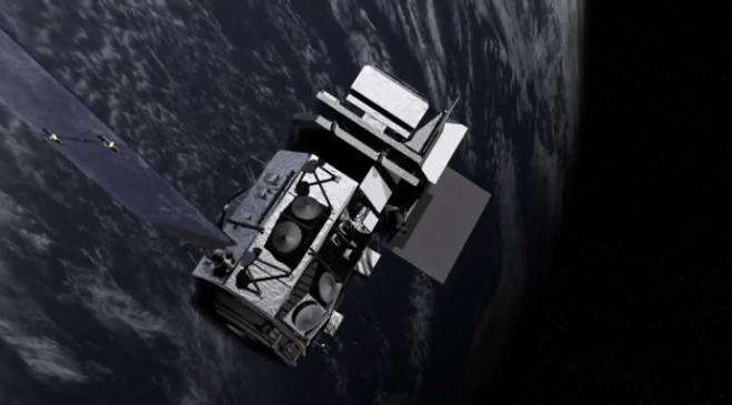 Illustration des Satelliten Landsat 8 im Erdorbit. Die Kalibrierung seiner Detektoren erfolgt auch mit Hilfe des Vollmondes. (NASA / Goddard Space Flight Center)