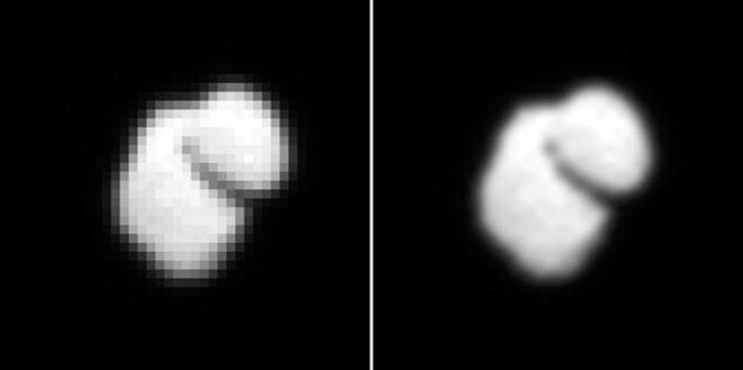 Das OSIRIS-Instrument an Bord der ESA-Raumsonde Rosetta hat diese Aufnahme ihres Zielkometen 67P/Churyumov-Gerasimenko am 14. Juli 2014 gemacht. Man erkennt eine zweiteilige Form des Kometenkerns. Das rechte Bild wurde mit interpolierten Daten verbessert. (ESA / Rosetta / MPS / UPD / LAM / IAA / SSO / INTA / UPM / DASP / IDA)
