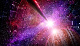 Das Innere der Zielkammer an der National Ignition Facility des Lawrence Livermore National Laboratory. Das Objekt links ist der Zielpositionierer, auf dem ein wenige Millimeter großes Ziel befestigt ist. Rechts wurde ein Bild von Jupiter eingefügt. (Image by Damien Jemison / LLNL)