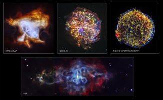 Anlässlich Chandras 15. Jahrestag wurden vier neue Bilder von Supernova-Überresten veröffentlicht. Die Bilder zeigen den Krebsnebel (oben links), G292.0+1.8 (oben Mitte), den Tycho-Supernova-Überrest (oben rechts) und 3C58 (unten). (NASA / CXC / SAO)