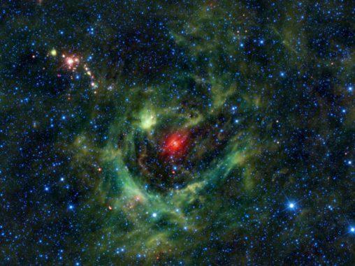 Diese Aufnahme der H-II-Region Sh2-205 stammt vom Wide-field Infrared Survey Explorer (WISE) der NASA. (NASA / JPL-Caltech / UCLA)